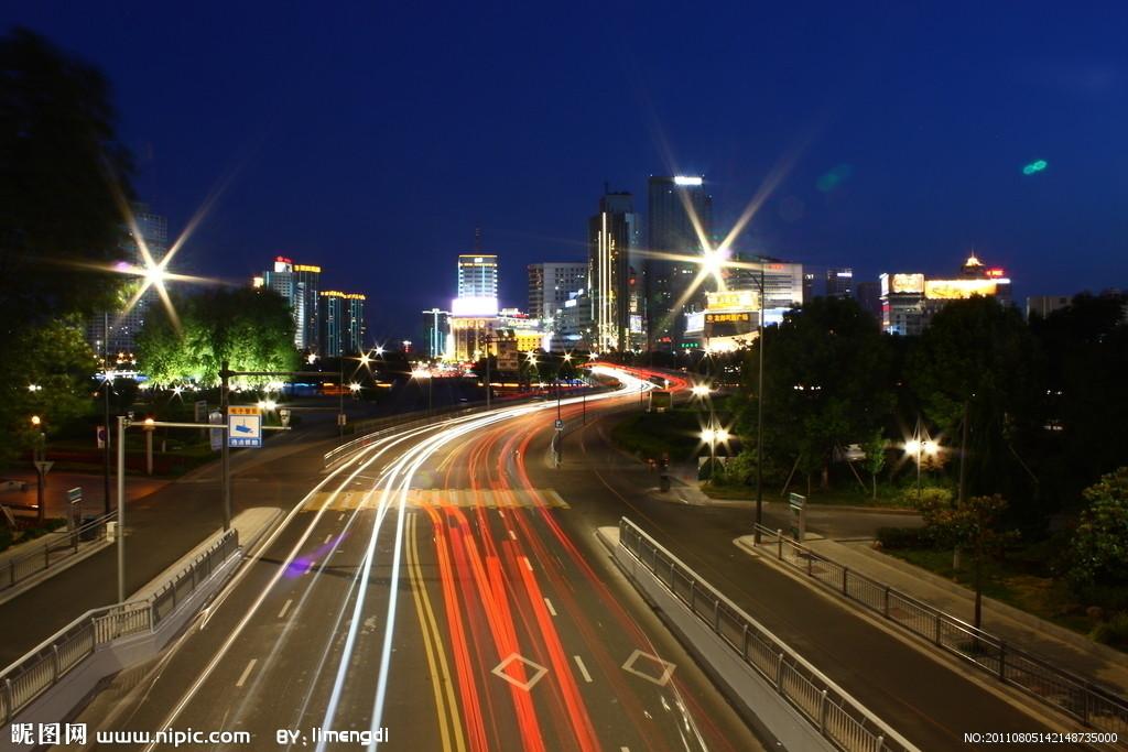 城市街道夜景ps素材