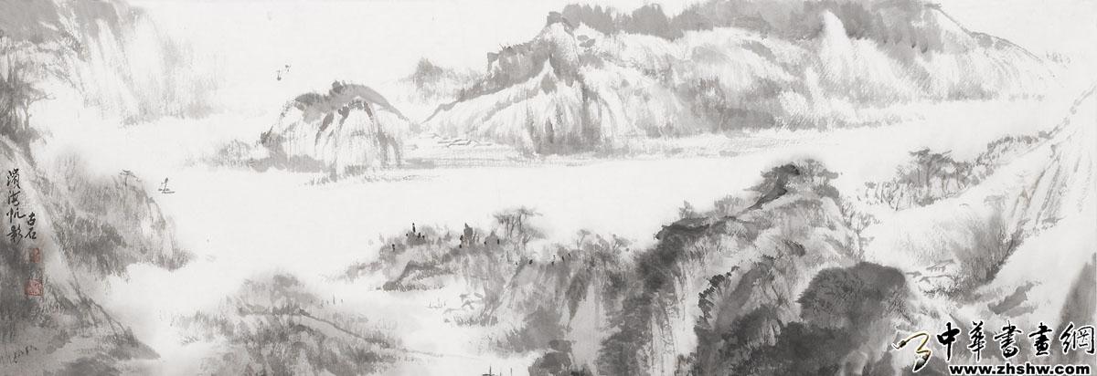 中国黑白山水画素材