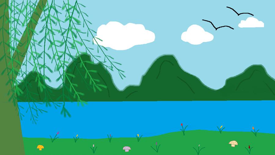 【小清新赛区】手绘金秋活动--简单山水花鸟画